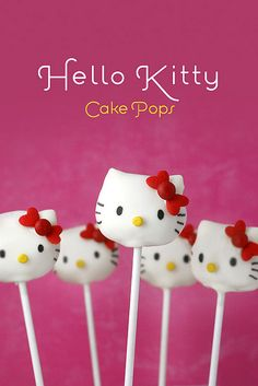 Hello Kitty Cake Pops by Bakerella, With the secret of how to make her adorable signature ears and bow. Great tutorial