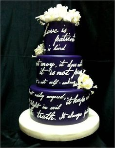 wedding cake with embossed love quotes;  by philippine wedding cake designer Dicky Go