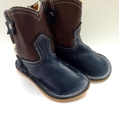 NYC-Made Navy Blue/Chocolate Brown Toddler Cowboy Boot