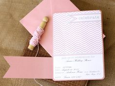 A sweet touch of pink added to the crisp chevron pattern makes this whimsical invitation perfect when you want to combine modern and delicate design styles. For an extra-special addition, cut a long flag shape from colored card stock to wrap across the front. Secure the back with tape, layer on another piece of card stock and wrap baker's twine around to hold it in place. Design by Kori Clark of Paper & Pigtails