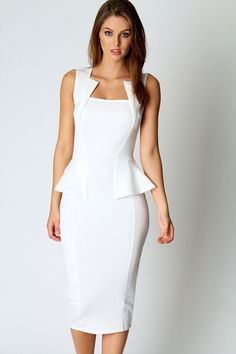 Get an utterly glam look with this bodycon peplum dress. This bodycon peplum dress is the perfect way to do sophisticated glamour. With an unusual and flattering square neckline, peplum waist and midi White Dresses For Women, Dresses For Work, Dress Work, Summer Dresses, White Midi Dress, White Peplum, Business Dresses, White Business Dress, Business Attire