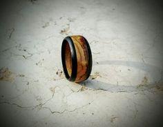 Olive and ebony wood ring