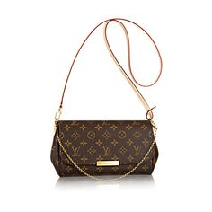 Discover Louis Vuitton Favorite MM: The Favorite MM clutch in Monogram canvas can be carried by hand or on the shoulder thanks to its removable leather strap and golden color chain. It opens up to reveal a beautiful burgundy lining.