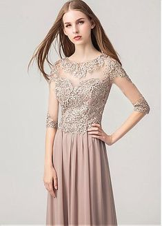 Magbridal In Stock Chiffon Jewel Neckline A-line Evening Dresses Dresses For Sale, Nice Dresses, Girls Dresses, A Line Evening Dress, Evening Dresses, Lace Dress, Dress Up, Flower Dresses, Chiffon Dresses