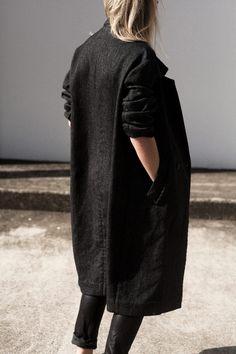 Long black coat.