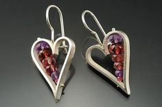 Heart Earrings in Red by Ashka Dymel. Small Heart Earrings, sterling silver with faceted semiprecious beads: amethyst, garnet, pink tourmaline. French wires with clasp. Unique Earrings, Heart Earrings, Gemstone Earrings, Sterling Silver Earrings, Unique Jewelry, Small Heart, Bling Jewelry, Jewlery, American Jewelry