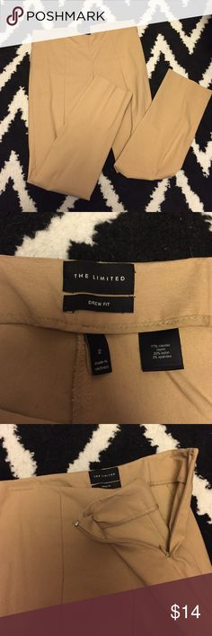 The Limited Drew Fit Slim Fit Ankle pants Drew fit khaki colored ankle pants. flattering line down the middle of both front pant legs. Side zipper. Used but in great condition. No rips or stains. The Limited Pants Ankle & Cropped