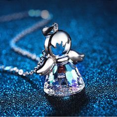 $18.30 - Guardian Angel Austrian Crystal Necklace (Buy this item for FREE SHIPPING) Cheap Necklaces, Fashion Jewelry Necklaces, Jewelry Accessories, Women Jewelry, Jewellery, Angel Necklace, Wing Necklace, Pendant Necklace, Crystal Necklace