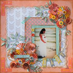 I really like the layered border. Lisa Gregory created this beautiful layout featuring the new Baby Bump collection. Love the floral clusters. Pregnancy Scrapbook, Baby Boy Scrapbook, Scrapbook Page Layouts, Scrapbook Cards, Baby Album, Baby Bumps, Making Ideas, New Baby Products, Paper Crafts