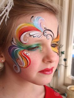 Rainbow Ribbons Face Painting
