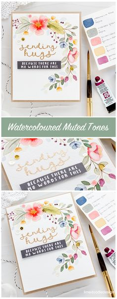 Choosing a colour palette for this muted watercolour floral handmade card by Debby Hughes. Watercolor Projects, Wreath Watercolor, Watercolor And Ink, Watercolor Painting, Neat And Tangled, Making Greeting Cards, Doodle Designs, Heart Cards, Sympathy Cards