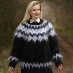 Black made to order ski mohair sweater with Nordic pattern, size S, M, L, XL