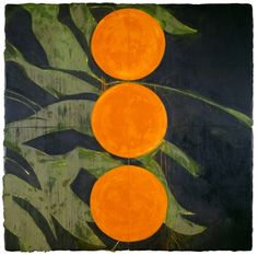 // Donald Sultan, oranges on a branch