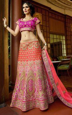 Picture of Tempting Pink and Purple Bridal Designer Lehenga Choli