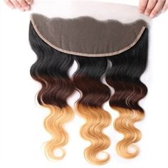Virgin Hair 1B/4/27 Body Wave 13*4 Lace Frontal Real Ombre Hair MOBW002