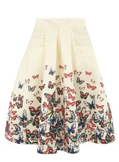 **Jolie Moi Beige Butterfly Print Skirt