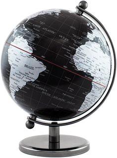 BRUBAKER globo mappamondo dal design in acciaio inox color nero/argento - altezza 19 cm: Amazon.it: Cancelleria e prodotti per ufficio