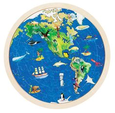 A circular wooden jigsaw puzzle of the world set in a wooden plate. Reverse the puzzle and you have  the Americas and Alaska on on side and Australia, Africa, A