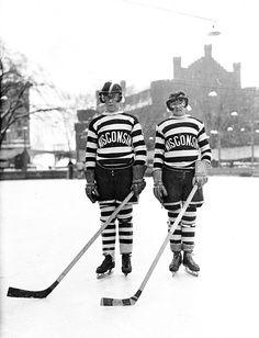 1929 Hockey in Winconsin Colorized Photo. Leave the hockey moms out of it. Hockey Rules, Men's Hockey, Hockey Players, Hockey Stuff, Hockey Shirts, Basketball, Montreal Canadiens, Wisconsin Badgers Hockey, Hockey Pictures