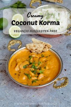 A creamy coconut vegan korma that can be ready in under half an hour. via A creamy coconut vegan korma that can be ready in under half an hour. via Little Sunny Kitchen Vegan Indian Recipes, Vegan Dinner Recipes, Vegan Dinners, Vegetarian Recipes, Cooking Recipes, Healthy Recipes, Ethnic Recipes, Fast Recipes, Vegan Dinner Party
