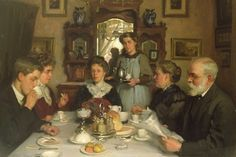 At your service: The Family at Breakfast by William Charles Penn (1877-1968)