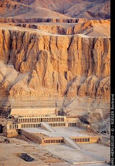 The Mortuary Temple of Queen Hatshepsut, the Djeser-Djeseru, is located beneath the cliffs at Deir el Bahari on the west bank of the Nile near the Valley of the Kings in Egypt