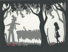 Alice in Wonderland paper silhouette