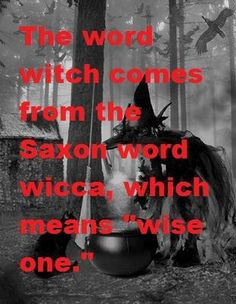 "Witch comes from the Saxon word wicca which means ""wise one""."