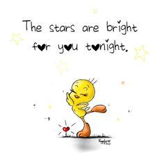 The #stars are #bright ✨ for #you #tonight.  #Tweety ☺️ #einfachmalso  #dubistsosüss #painting #drawing #KnochiART #kreativ #spruchdestages ✅ Ich wünsch euch allen ( #follower ) einen tollen chilligen #Abend oder wie auch immer ihr euren Abend...