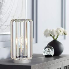 Glam up your nightstand or bedside table with this sparkling crystal accent table lamp. 10 high x 5 wide overall. Uses one maximum 60 watt standard-medium base bulb (not included). Style # at Lamps Plus. Crystal Bedroom, Mirrored Coffee Tables, Silver Teapot, Contemporary Table Lamps, Pipe Lamp, Lamp Sets, Clear Crystal, A Table, Accent Decor