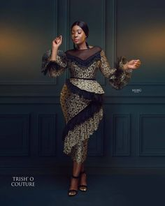 Get an instant CHIC LOOK with this beautiful frills, chantilly lace Dress . A new look has just emerged from Trishocouture Hurry, grab… Source by fashion dresses Latest African Fashion Dresses, African Dresses For Women, African Print Fashion, African Attire, African Lace Styles, Ankara Styles, Mode Outfits, Dress Outfits, Dress Shoes