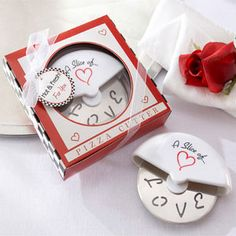 """A Slice of Love"" Pizza Cutter Wedding Favour    R 35.00"
