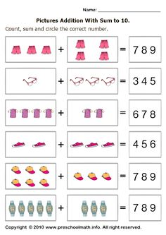 basic addition worksheets with sum to 10 and circle the number
