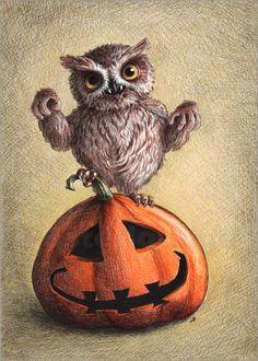Vampire Owl - Halloween Posters by Stefan Kahlhammer