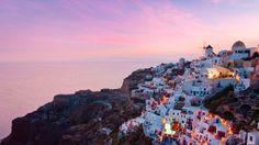 Sun Setting over the Aegean Sea  Santorini, Greece