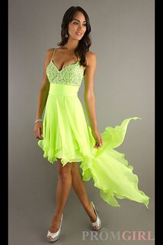 Lime Green Dress Occasion Dresses High Low Prom Grad Formal