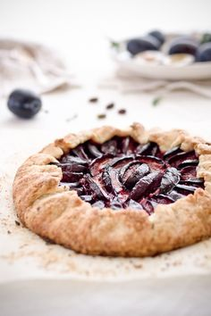 Plum galette, from Bake.noir.com. In my family, we call these Italian plums, and each time I bring them to work, people are mystified by them. Are these only a European fruit?