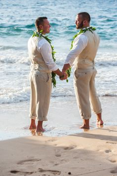 Grooms Ryan and Tyler soaked up the sun in Maui, Hawaii for their beach gay wedding! {Mariah Milan} | gay wedding | lgbt wedding | beach wedding | Hawaii wedding | khaki suit