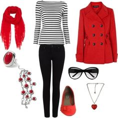 2. Red Coat and #Stripes - Outfit #Inspiration for the #Perfect Valentine's Day…