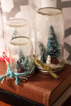 Christmas Jars, Christmas Decorations, Anthropologie Christmas, Ball Mason Jars, Winter Scenes, Snow Globes, Unique Jewelry, Handmade Gifts, Awesome
