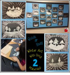 A couple weeks ago I was looking for a quick art project for my class to complete. I cannot remember where I saw a picture of a winter sce...