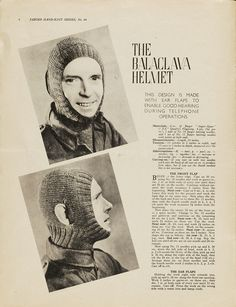 The Balaclava  This pattern is specially designed with ear flaps, for better hearing during telephone conversations (tee hee hee...)  1940s Patterns to Knit | V