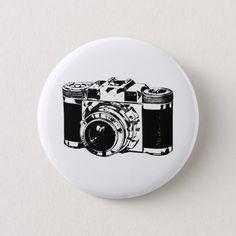 Retro 35 mm Camera Pinback Button