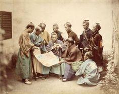 Samurai of the Satsuma clan, during the Boshin War period, circa 1867. Hand-colored Photograph by Felice Beato