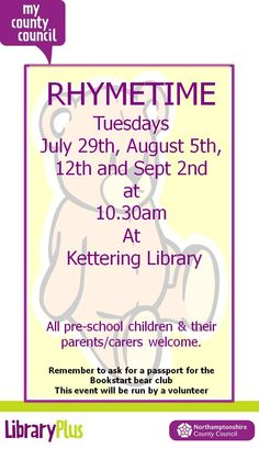 Rhymetimes for the under 5s and their parents/carers at Kettering Library on Tuesdays.