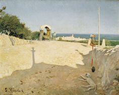 Santiago Rusiñol i Prats. La cruz de término, 1892. Óleo sobre lienzo, 79 x 100 cm. Colección Carmen Thyssen-Bornemisza