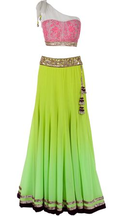 Green shaded lehenga with one shoulder blouse by MANISH MALHOTRA. Shop at http://www.perniaspopupshop.com/designers-1/manish-malhotra