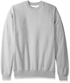 Hanes Men's Ecosmart Fleece Sweatshirt, Ash, X Large: The Hanes comfort blend eco smart pullover sweatshirt provides medium-weight fleece comfort all year around. Even better, Hanes keeps plastic bottles out of landfills by using recycled polyester. Sweatshirt Outfit, Crew Neck Sweatshirt, Mens Pullover, Polo Shirt, Black Leather Vest, Crew Sweatshirts, Mens Clothing Styles, Types Of Shirts, Mens Fashion