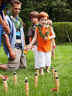 Arrange unlit mini tiki torches (we found ours at orientaltrading.com) in the ground, and kids can land rings on top to score points.