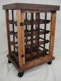 Rustic Iron and Wood Wine Rack by RetroWorksStudio on Etsy